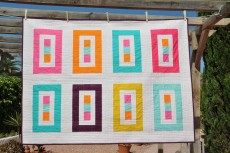'Floating colours 8' throw quilt