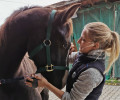 Jasmin Imfeld with rescued horse Lawrence